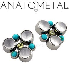 Threaded Clusters in ASTM F-136 titanium with synthetic Turquoise, synthetic Citrine, and genuine Moonstone gems