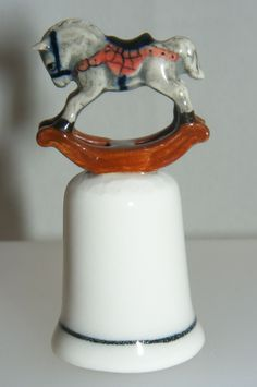thimbles made in england | Porcelain Grey Rocking Horse on Thimble L751 (Klima)
