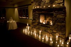 there's a fireplace like this in the Twin Owls Steakhouse, and I do love candles...