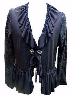 37496a50932 Black Gothic Ruffle Bolero Shrug cardigan victorian steampunk evening plus  wicca