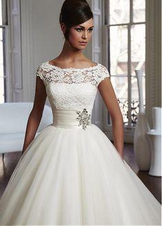 Buy discount Elegant Lace & Tulle Bateau Neckline Natural Waistline Ball Gown Wedding Dress at Laurenbridal.com