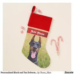 Personalized Black and Tan Doberman Pinscher Christmas Stocking Pet Christmas Stockings, Santa Claus Is Coming To Town, Doberman Pinscher, Christmas Animals, Christmas Card Holders, Pets, Black, Black People, Doberman