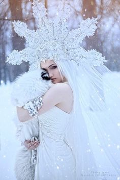 Photo Source by Ice Queen Costume, Winter Fairy, Winter Makeup, Fantasy Photography, Ice Princess, Fantasy Dress, Fantasy Hair, Fantasy Makeup, Fantasy Costumes