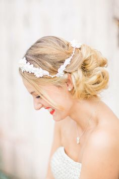 Gorgeous updo with a white crown: http://www.stylemepretty.com/australia-weddings/2015/02/05/floral-heart-inspiration/ | Photography: Patricia Hau - http://www.patriciahauphotography.com/