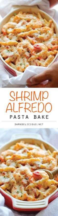 Skinny Shrimp Alfredo Pasta Bake - An unbelievably cheesy, creamy lightened-up pasta bake that you can easily make ahead of time! Alfredo Pasta Bake, Baked Shrimp Alfredo, Shrimp Pasta Bake, Creamy Shrimp Pasta, Shrimp Ravioli Recipe, Low Fat Alfredo Sauce, Cooked Shrimp, Chicken Alfredo, Fish Pasta