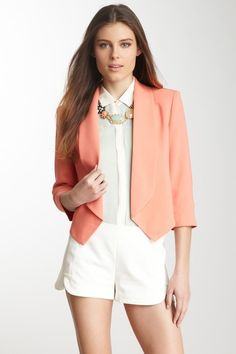 "3/4 Sleeve Jacket  by a.maglia   Open front  - Shawl lapel  - Padded shoulders   - 3/4 length sleeves  - Fully lined  - Approx. 20"" length  $85.00"