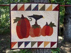 Quilted Wall Hanging, Quilt,Country Decor, Primitive Decor, Autumn, Fall Wall hanging, Primitive Pumpkin,  Pumpkin Patch.  via Etsy.