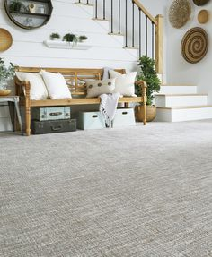 """New """"Grace"""" is made with STAINMASTER® PetProtect® fiber and processed using our new """"Colorplay"""" technique, an innovation for creating color variations on solution dyed nylon. Nylon Carpet, Patterned Carpet, Home Remodeling, Innovation, Table Decorations, Interior, Furniture, Color, Home Decor"""