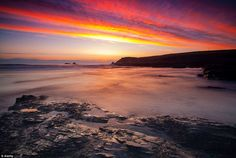 The sun set on Booby's Bay, a popular destination for seasoned surfers in Cornwall, near Padstow