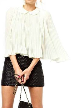 abaday Pleated Chiffon White Blouse - Fashion Clothing, Latest Street Fashion At Abaday.com