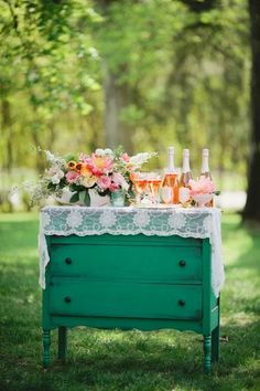 Brighten up vintage pieces for an outdoor garden reception. Found on Weddings in Iowa #reception #vintage
