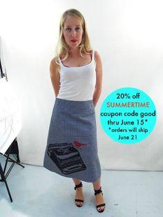 Houndstooth Twill ALine Typewriter Skirt by AngiesSweatshop, $55.00