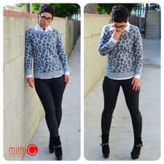 Today's Look @Gap Leopard Sweater + @GUESSbyMarciano Coated Jeans  www.mimigstyle.com #mimig