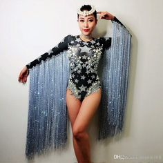 Gray Tassel Crystals Stars Bodysuit Women Stage Dance fringes Leotard Nightclub Party Female Singer Costume Celebrate Outfit - All About Singer Costumes, Dance Costumes, Star Costume, Circus Costume, Carnival Outfits, Burning Man Outfits, Bodysuit Fashion, Festival Looks, Stage Outfits