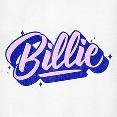 #lettering #handlettering #typography #font #type #calligraphy #blue #pink #billie #billieholiday #billiejean #retrotype #graphicdesign #illustration #90s