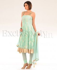 #Exclusivelyin, #IndianEthnicWear, #IndianWear, #Fashion, Mint Green Chanderi Kalidar Suit With Embroidered Straps