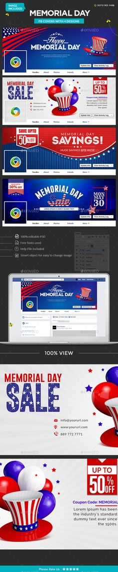 Memorial Day Facebook Covers - 4 Designs Template PSD. Download here: http://graphicriver.net/item/memorial-day-facebook-covers-4-designs-images-included/16292410?ref=ksioks