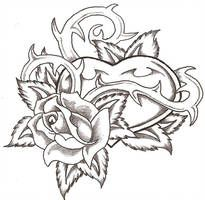 Heart and Rose by TheLob on DeviantArt Cool Drawings Of Hea.- Heart and Rose by TheLob on DeviantArt Cool Drawings Of Hearts Rose Coloring Pages, Skull Coloring Pages, Printable Adult Coloring Pages, Coloring Pages To Print, Coloring Books, Colouring, Tattoo Drawings, Cool Drawings, Body Art Tattoos