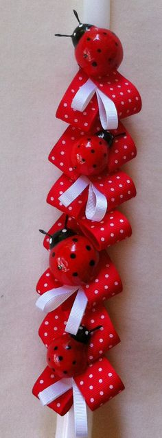 Orthodox Easter Candle Ladybugs