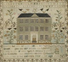 An 18th century pictorial sampler done by Catherine Skinner 1793, She was 11 years old.