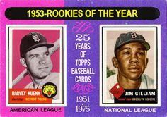 1975 Topps Rookie of the Year, 1953 Topps, Baseball cards that never were, Harvey Kuenn Detroit Tigers, Jim Gilliam Brooklyn Dodgers.