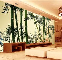 Papier peint asiatique - Les bambous aspect ancien