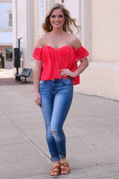 Coral Off The Shoulder Crop Top | UOIOnline.com: Women's Clothing Boutique