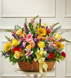 Bright Flower Sympathy Arrangement in Basket