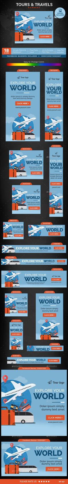 Tours & Travels Banners Template #design #ads #web Download: http://graphicriver.net/item/tours-travels-banners/12473387?ref=ksioks