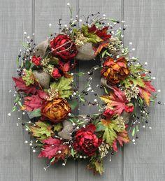 Fall Wreath, Late Summer Floral Wreath, Floral Wreath, Front Door Wreath