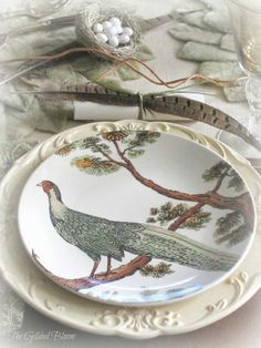 Fall Pheasant Table Setting