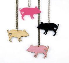 Pig Love Necklace  Handmade  Laser Cut  laser by UnpossibleCuts, $19.95