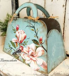Lovely Application Pink Flowers Onto Blue Carry All