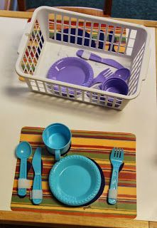 Add more structure/support to dramatic play. Ex: place mats with settings and the exact amount of utensils/plates needed.