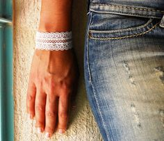 Wide Bracelet White Lace Embroidered Jewelry by FashionAndScarves Yellow Lace, Red Lace, White Lace, Lace Bracelet, Bridal Bracelet, Lace Jewelry, Lace Design, Bracelet Designs, Handmade Bracelets