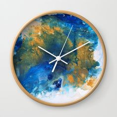 """Good times! Rethink the traditional timepiece as functional wall decor. You'll love how our Artists are converting some of their coolest designs specifically into Wall Clocks. Constructed with premium, shatter-resistant materials, with three frame color options. - Natural wood, black or white frame options - Dimensions: 10"""" diameter, 1.75"""" depth - Choose black or white hands to match frame or design - High-impact plexiglass crystal fac... Wall Clocks, Hand Coloring, Natural Wood, Good Times, Cool Designs, Wall Decor, Hands, Paintings, Sky"""