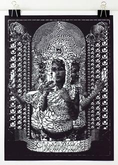 hand-cut paper by carlo fantin unites religious art + social media cultur