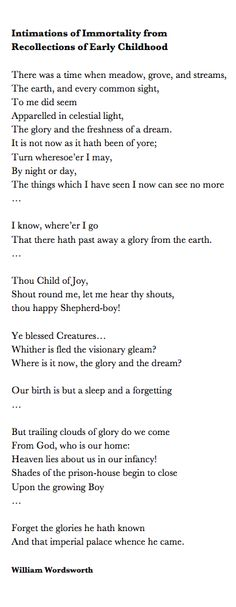 Wordsworth s glorification of childhood in immortality ode