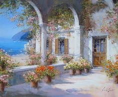 """""""Costiera""""  by  Lucia Sarto, Italy  (Oil on Canvas)"""