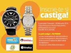 Castiga doua ceasuri Armani oferite de Cuponreducere.ro + multe alte premii