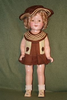 """Ultra RARE 18"""" Shirley Temple Composition Doll in Little Colonel Military Dress 