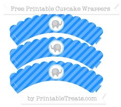 Free Dodger Blue Diagonal Striped Baby Elephant Scalloped Cupcake Wrappers