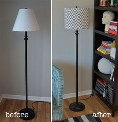 Turn a tapered lamp shade into a drum shade. DIY! - gotta try this on the lamps in my living room