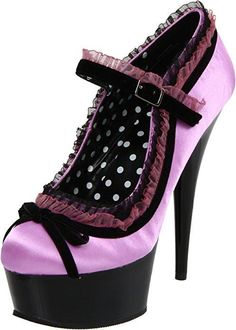 #FSJshoes - #FSJ Shoes Orchid  Polka Dot Lace Women's Mary Jane Pumps Vintage Heels - AdoreWe.com