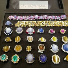 Oscarheyman.. Just a small box of various phenomenal stones. Packing up for the day.  #OscarHeyman #starsapphire #starruby #catseyes