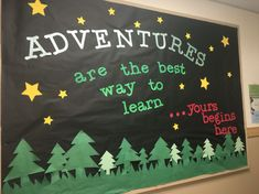 trendy camping theme classroom door back to school Camping Bulletin Boards, Summer Bulletin Boards, Preschool Bulletin Boards, Preschool Classroom, Kindergarten, Back To School Bulletin Boards, Forest Theme Classroom, Classroom Door, Classroom Themes