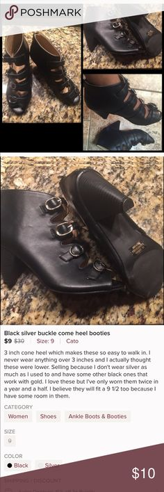 Cone heel buckle shootie final price Worn a few times. They run a tad bit big so they will prob fit up to a 9 1/2 very easy and comfortable to walk in Cato Shoes Ankle Boots & Booties