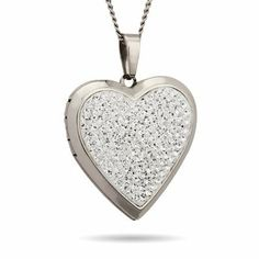 Austrian Crystal Heart Locket Length 18 inches (Lengths 18 inches 20 inches 24 inches Available) Eve's Addiction. $39.00. Charm Size: 1 inch heart. Approximate Weight: 5.8 grams. TCW: .6 carats