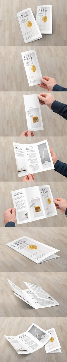 Minimal Cool White Trifold Brochure Template InDesign INDD