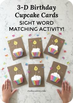 Homemade birthday cupcake cards are a sweet gift!  You can easily integrate sight word teaching with this fun birthday craft! Literacy activity   Preschool   Kindergarten   First grade   Second grade   Elementary school   Homeschool via @chalkacademy